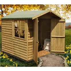 7ft x 7ft (1.98m x 2.04m) Pressure Treated Overlap - Apex Wooden Garden Shed - 1 Opening Window - Double Doors - 10mm Solid OSB Floor - CORE (BS)