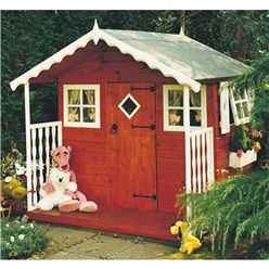 6ft x 6ft (1.79m x 1.79m) - Wooden Den Playhouse  - 12mm Tongue & Groove - 2 Fixed Windows - 2 Opening Windows - Single Door - Apex Roof