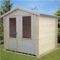 2.7m x 2.7m Premier Apex Log Cabin With Single Door And Window + Free Floor & Felt (19mm)