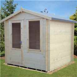 INSTALLED - 2.7m x 2.7m Premier Apex Log Cabin With Single Door And Window + Free Floor & Felt (19mm) INSTALLATION INCLUDED