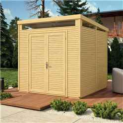 8ft x 8ft Pent Security Shed - Double Doors - 19mm Tongue and Groove Walls & Floor