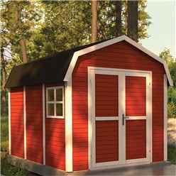 11ft x 8ft Dutch Barn - Double Doors - 19mm Tongue and Groove Walls and Floor - Painted Swedish Red