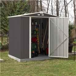 5ft x 6ft (1.57m x 1.77m) Single Door Galvanised Steel Metal Apex Shed