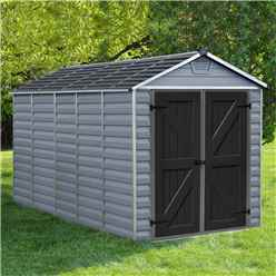 INSTALLED 12ft x 6ft (3.78m x 1.85m) Double Door Apex Plastic Shed with Skylight Roofing INSTALLATION INCLUDED