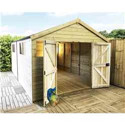 13FT x 11FT PREMIER PRESSURE TREATED T&G APEX WORKSHOP + 6 WINDOWS + HIGHER EAVES & RIDGE HEIGHT + DOUBLE DOORS (12mm T&G Walls, Floor & Roof) + SAFETY TOUGHENED GLASS + SUPER STRENGTH FRAMING