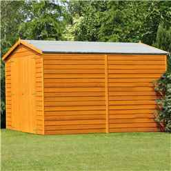 10ft x 10ft Windowless Dip Treated Overlap Apex Wooden Garden Shed with Double Doors (11mm Solid OSB Floor)