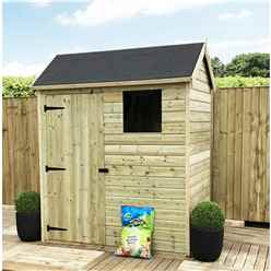 7FT x 6FT Reverse Apex Premier Pressure Treated Tongue & Groove Shed + 1 Window + Higher Eaves & Ridge Height + Single Door + Safety Toughened Glass