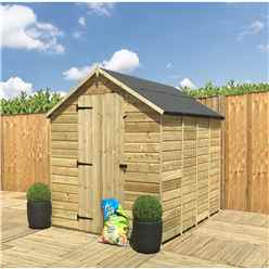 14FT x 5FT **Flash Reduction** Super Saver Windowless Pressure Treated Tongue & Groove Apex Shed + Single Door + Low Eaves