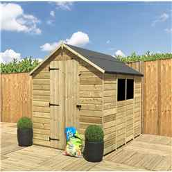 INSTALLED 8FT x 5FT **Flash Reduction** Super Saver Pressure Treated Tongue & Groove Apex Shed + Single Door + Low Eaves + 2 Windows
