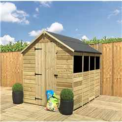 INSTALLED 14FT x 6FT **Flash Reduction** Super Saver Pressure Treated Tongue & Groove Apex Shed + Single Door + Low Eaves + 4 Windows