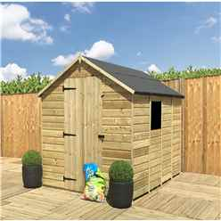 INSTALLED 7FT x 4FT **Flash Reduction** Super Saver Pressure Treated Tongue & Groove Apex Shed + Single Door + Low Eaves + 1 Window