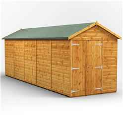 20ft x 6ft Premium Tongue and Groove Apex Shed - Double Doors - Windowless - 12mm Tongue and Groove Floor and Roof