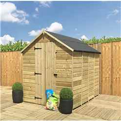 INSTALLED 12FT x 8FT **Flash Reduction** Windowless Super Saver Pressure Treated Tongue & Groove Apex Shed + Single Door + Low Eaves - INSTALLATION INCLUDED