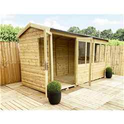 10ft x 7ft REVERSE Pressure Treated Tongue & Groove Apex Summerhouse with Higher Eaves and Ridge Height + Overhang + Toughened Safety Glass + Euro Lock with Key