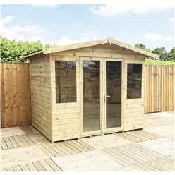 8ft x 11ft Pressure Treated Tongue & Groove Apex Summerhouse with Higher Eaves and Ridge Height + Overhang + Toughened Safety Glass + Euro Lock with Key