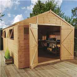 16ft x 10ft (4.88m x 3.05m) Deluxe Tongue & Groove Workshop With Double Doors + 4 Windows (12mm T&G Floor)
