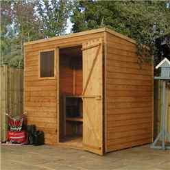 7ft x 5ft (2.13m x 1.55m) Super Saver Overlap Pent Shed With Single Door + 1 Window (10mm Solid OSB Floor)