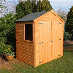 4ft x 6ft (1.20m x 1.83m) - Tongue & Groove -  Apex Garden Shed / Workshop - 1 Opening Window - Double Doors - 10mm Solid OSB Floor