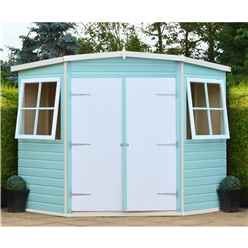 7ft x 7ft (2.07m x 2.07m) - Stowe Tongue & Groove Corner Garden Pent Shed / Workshop - 2 Opening Windows - Double Doors - 12mm T&G Floor