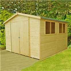 10ft x 10ft (2.99m x 2.99m) - Stowe Tongue & Groove - Garden Shed / Workshop - 6 Windows - Double Doors - 12mm Tongue and Groove Floor