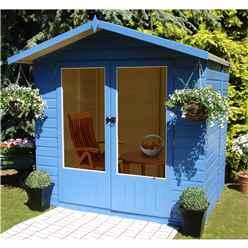 7ft x 5ft (2.05m x 1.55m)  - Premier Wooden Summerhouse - Double Doors - 12mm T&G Walls & Floor
