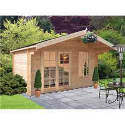 4.74m x 3.59m Stowe Brunswick Log Cabin - 28mm Wall Thickness