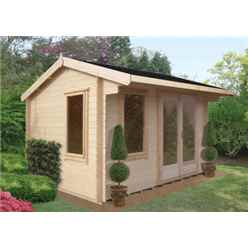 3.59m x 4.19m Stowe Pavilion Log Cabin - 28mm Wall Thickness
