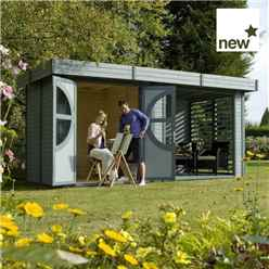 4.88m x 2.4m Connor Painted Log Cabin (19mm Tongue & Groove)