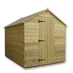 8FT x 6FT Windowless Pressure Treated Tongue & Groove Apex Shed + Single Door
