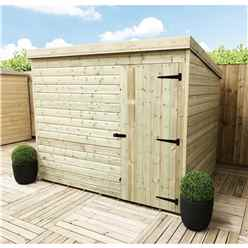 7FT x 5FT Windowless Pressure Treated Tongue & Groove Pent Shed + Single Door