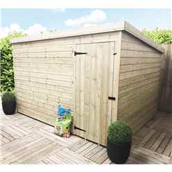 10FT x 7FT Windowless Pressure Treated Tongue & Groove Pent Shed + Single Door