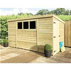 10FT x 8FT Pressure Treated Tongue & Groove Pent Shed With 3 Windows + Side Door + Safety Toughened Glass