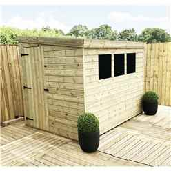 7FT x 6FT Reverse Pressure Treated Tongue & Groove Pent Shed With 3 Windows + Side Door + Safety Toughened Glass