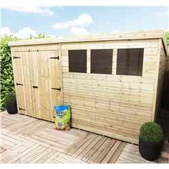 12FT x 7FT Pressure Treated Tongue & Groove Pent Shed + Double Doors With 3 Windows + Safety Toughened Glass
