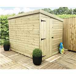 8FT x 8FT Windowless Pressure Treated Tongue & Groove Pent Shed + Side Door