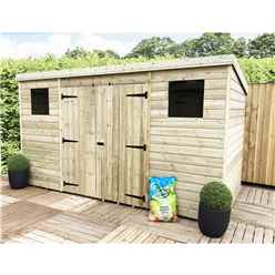 12FT x 7FT Pressure Treated Tongue & Groove Pent Shed + Double Doors Centre With 2 Windows + Safety Toughened Glass