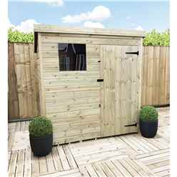 5FT x 5FT Pressure Treated Tongue & Groove Pent Shed With 1 Window + Single Door + Safety Toughened Glass