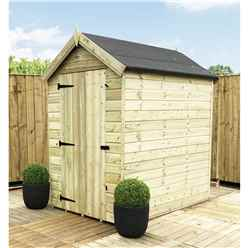 6FT x 5FT PREMIER WINDOWLESS PRESSURE TREATED TONGUE & GROOVE APEX SHED + HIGHER EAVES & RIDGE HEIGHT + SINGLE DOOR