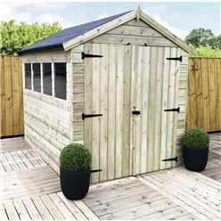 10FT x 6FT PREMIER PRESSURE TREATED TONGUE & GROOVE APEX SHED - DOUBLE DOORS + 4 WINDOWS + HIGHER EAVES & RIDGE HEIGHT + SAFETY TOUGHENED GLASS