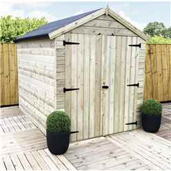 7FT x 6FT WINDOWLESS PREMIER PRESSURE TREATED TONGUE & GROOVE APEX SHED + HIGHER EAVES & RIDGE HEIGHT + DOUBLE DOORS