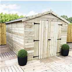10FT x 8FT WINDOWLESS PREMIER PRESSURE TREATED TONGUE & GROOVE APEX SHED+ HIGHER EAVES & RIDGE HEIGHT + DOUBLE DOORS
