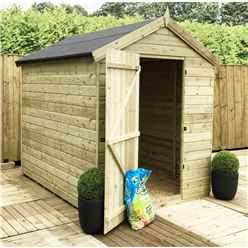 8FT x 6FT PREMIER WINDOWLESS PRESSURE TREATED TONGUE & GROOVE SINGLE DOOR APEX SHED + HIGHER EAVES & RIDGE HEIGHT