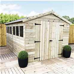 12FT x 8FT PREMIER PRESSURE TREATED TONGUE & GROOVE APEX SHED WITH 6 WINDOWS + HIGHER EAVES & RIDGE HEIGHT + DOUBLE DOORS + SAFETY TOUGHENED GLASS
