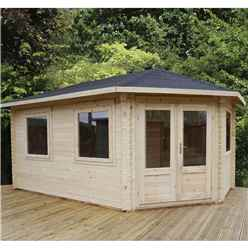 5m x 3m KANSAS Corner Log Cabin (Single Glazing) + Free Floor & Felt & Safety Glass (28mm) - Right Door