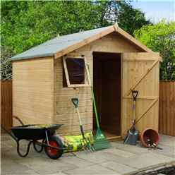 6ft x 8ft Premier Reverse Tongue & Groove Apex Shed,Higher Ridge With Single Door + 2 Windows (12mm T&G Floor & Roof)