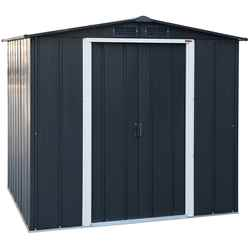**PRE-ORDER ONLY - BACK IN STOCK MID JUNE** 6ft x 6ft Anthracite Metal Shed (2.01m x 1.82m)