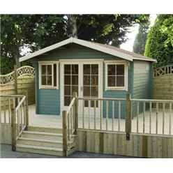5.34m x 3.59m Stowe Claradon Log Cabin - 44mm Wall Thickness