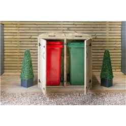 Double Pressure Treated Wheelie Bin Store - 140 Litre Bins