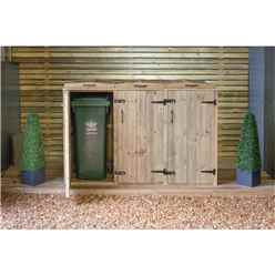 Triple Pressure Treated Wheelie Bin Store - 140 Litre Bins