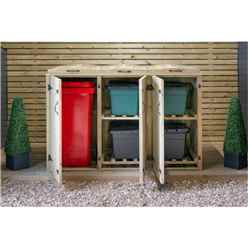 Wheelie Bin & Recycling Box Triple Chest Store - 1 x Wheelie Bin + 4 x Recycling Boxes